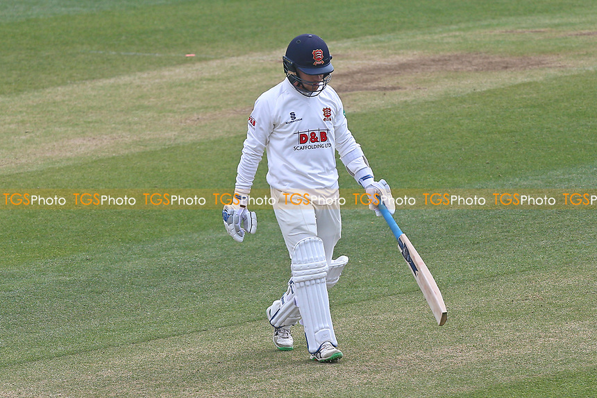 Adam Wheater of Essex leaves the field having been dismissed for 1 during Essex CCC vs Lancashire CCC, Specsavers County Championship Division 1 Cricket at The Cloudfm County Ground on 10th April 2017