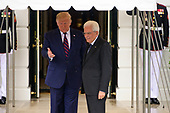 United States President Donald J. Trump welcomes the President Sergio Mattarella of the Italian Republic at the South Portico of the White House in Washington, DC on Wednesday, October 16, 2019.<br /> Credit: Ron Sachs / CNP