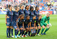 20170601 - CARDIFF , WALES : PSG's team lineup pictured with Katarzyna Kiedrzynek , Sabrina Delannoy , Aminata Diallo , Cristiane , Ashley Lawrence , Irene Paredes , Marie-Laure Delie , Eve Perisset , Formiga , Grace Geyoro and Shirley Cruz Trana during a womensoccer match between the teams of  Olympique Lyonnais and PARIS SG, during the final of the Uefa Women Champions League 2016 - 2017 at the Cardiff City Stadium , Cardiff - Wales - United Kingdom , Thursday 1  June 2017 . PHOTO SPORTPIX.BE | DAVID CATRY