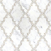 Dervish, a waterjet and hand-cut stone mosaic, shown in polished Calacatta Tia, is part of the Silk Road Collection by Sara Baldwin for New Ravenna Mosaics.