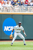Michigan Wolverines outfielder Christian Bullock (5) on defense during Game 11 of the NCAA College World Series against the Texas Tech Red Raiders on June 21, 2019 at TD Ameritrade Park in Omaha, Nebraska. Michigan defeated Texas Tech 15-3 and is headed to the CWS Finals. (Andrew Woolley/Four Seam Images)