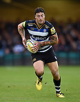 Matt Banahan of Bath Rugby in possession. West Country Challenge Cup match, between Bath Rugby and Exeter Chiefs on October 10, 2015 at the Recreation Ground in Bath, England. Photo by: Patrick Khachfe / Onside Images