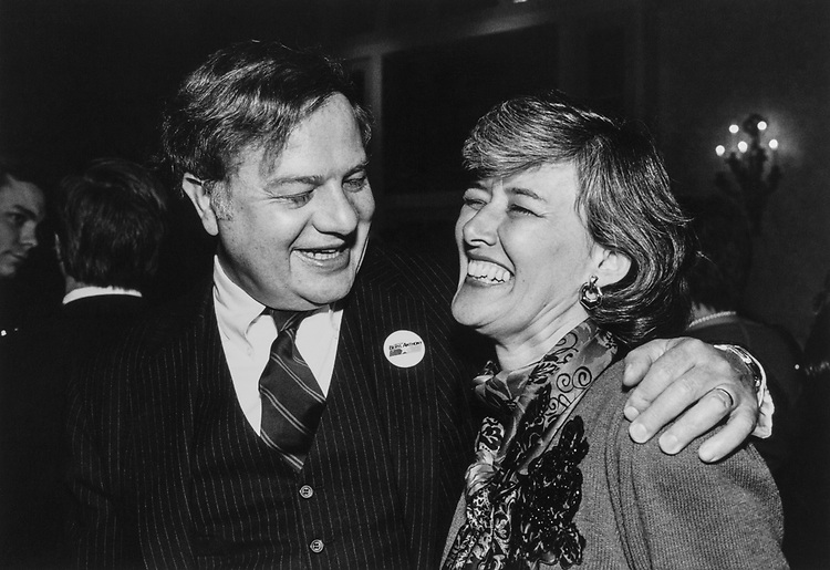 Rep. Patricia Schroeder, D-Colo., with party member. (Photo by CQ Roll Call)