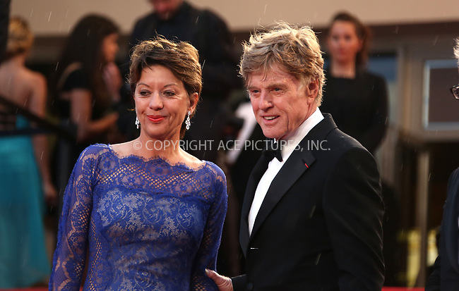 WWW.ACEPIXS.COM....US Sales Only....May 22 2013, Cannes....Robert Redford and Sibylle Szaggars at the premiere of 'All Is Lost' during the 66th Cannes Film Festival on May 22 2013 in France ....By Line: Famous/ACE Pictures......ACE Pictures, Inc...tel: 646 769 0430..Email: info@acepixs.com..www.acepixs.com