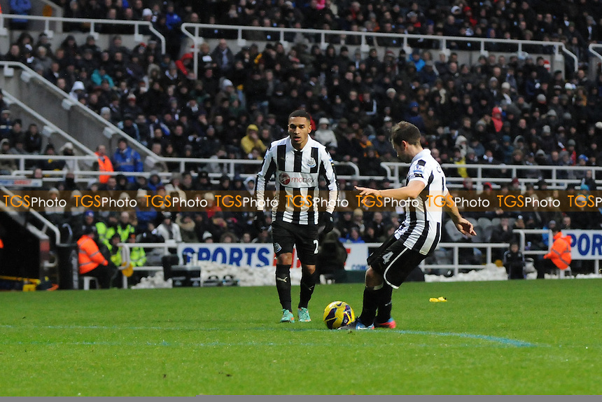 Newcastle United midfielder Yohan Cabaye fires home a free kick to put Newcastle United 1-0 up - Newcastle United vs Reading - Barclays Premier League Football at St James Park, Newcastle upon Tyne - 19/01/13 - MANDATORY CREDIT: Steven White/TGSPHOTO - Self billing applies where appropriate - 0845 094 6026 - contact@tgsphoto.co.uk - NO UNPAID USE.