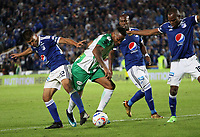BOGOTÁ- COLOMBIA - 31 - 01 - 2018: Jair Palacios (Der.) and John Duque (Izq.)jugadores de Millonarios  disputan el balón con Andres Renteria(Centro) jugador del Atlético Nacional  durante partido  entre Millonarios  y Atlético Nacional por el partido de ida de la Superliga  Águila 2018 jugado en el estadio Nemesio Camacho El Campín de la ciuada de Bogotá. / Jair Palacios (R) and John Duque (L) players of Millonarios vies for the ball with Andres Renteria (Center) player of Atletico Nacional  , during  the first leg of Superliga Aguila  2018 played at the Nemesio Camacho Stadium El Campin of the city of Bogotá. Photo: VizzorImage  / Felipe Caicedo / Staff