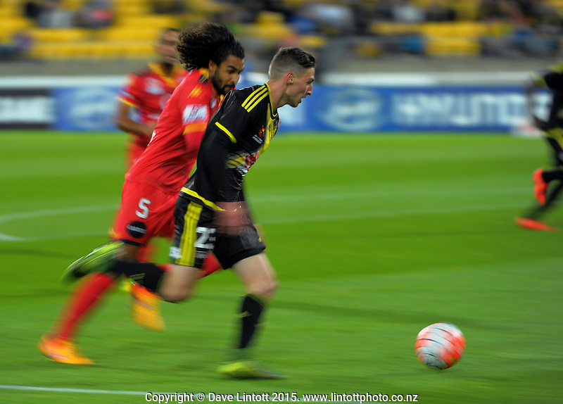 Matthew Ridenton in action during the A-League football match between Wellington Phoenix and Adelaide United at Westpac Stadium, Wellington, New Zealand on Friday, 13 November 2015. Photo: Dave Lintott / lintottphoto.co.nz