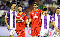 Real Valladolid´s Peña (l) and Javi Guerra (r) and Getafe's Escudero and Lafita during La Liga match.August 31,2013. (ALTERPHOTOS/Victor Blanco)