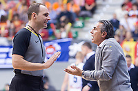 Spain coach Sergio Scariolo talking with referee during FIBA European Qualifiers to World Cup 2019 between Spain and Slovenia at Coliseum Burgos in Madrid, Spain. November 26, 2017. (ALTERPHOTOS/Borja B.Hojas) /NortePhoto NORTEPHOTOMEXICO