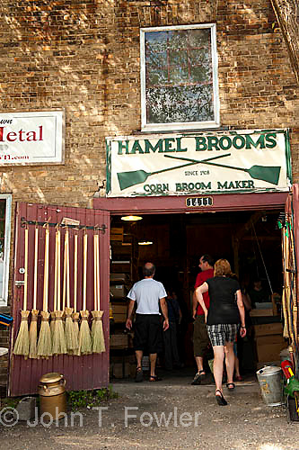Hamel Broom Manufacturer, St. Jacobs, Ontario, corn brooms, small business, lifestyle, manufacturing, industry, craft, artisan, display, products