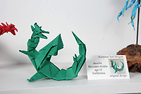 New York, NY, USA - June 24-25, 2017: OrigamiUSA 2017 Convention at St. John's University, Queens, New York, USA. Exhibition - Origami by Children. Original design folded by Aurelio Bazzano-Zeldin, 11, California.