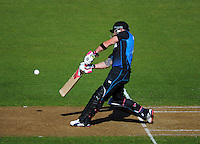 Brendon McCullum drives a six off the park during the ICC Cricket World Cup one day pool match between the New Zealand Black Caps and England at Wellington Regional Stadium, Wellington, New Zealand on Friday, 20 February 2015. Photo: Dave Lintott / lintottphoto.co.nz