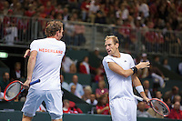 Switserland, Genève, September 19, 2015, Tennis,   Davis Cup, Switserland-Netherlands, Doubles: Dutch team Matwe Middelkoop/Thiemo de Bakker (R)  photo 8<br /> Photo: Tennisimages/Henk Koster