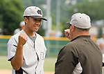 WATERBURY, CT-0712917JS12-- Colton's Kenny Kim (24), who came in for relief, is congratulated after closing out their win over Ontario during their Mickey Mantle World Series game Saturday at Municipal Stadium in Waterbury. <br /> Jim Shannon Republican-American