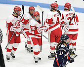 Jenn Wakefield (BU - 9), Kayla Tutino (BU - 8), Isabel Menard (BU - 20), Kathryn Miller (BU - 4), Tara Watchorn (BU - 27) - The Boston University Terriers defeated the visiting University of Connecticut Huskies 4-2 on Saturday, November 19, 2011, at Walter Brown Arena in Boston, Massachusetts.