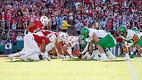 STANFORD, CA - SEPTEMBER 21: The Stanford Cardinal and the Oregon Ducks line up for an Oregon Ducks point after try during a game between University of Oregon and Stanford Football at Stanford Stadium on September 21, 2019 in Stanford, California.