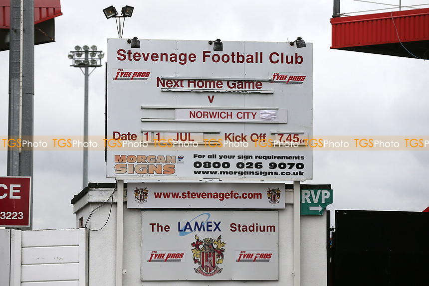 Large sign outside the ground promotes the first home pre-season friendly of the new season during Stevenage vs Norwich City, Friendly Match Football at the Lamex Stadium on 11th July 2017
