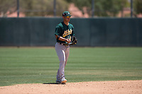 Oakland Athletics shortstop JC Rodriguez (41) during an Extended Spring Training game against the San Francisco Giants Orange at the Lew Wolff Training Complex on May 29, 2018 in Mesa, Arizona. (Zachary Lucy/Four Seam Images)