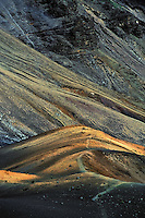The natural landscape of the crater in HALEAKALA NATIONAL PARK on Maui in Hawaii is awash in contrast of colors