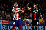 Hector Herrera of Atletico de Madrid and Julian Baumgartlinger of Bayer 04 Leverkusen during the UEFA Europa League match between Atletico de Madrid and Bayer 04 Leverkusen at Wanda Metropolitano Stadium in Madrid, Spain. October 22, 2019. (ALTERPHOTOS/A. Perez Meca)