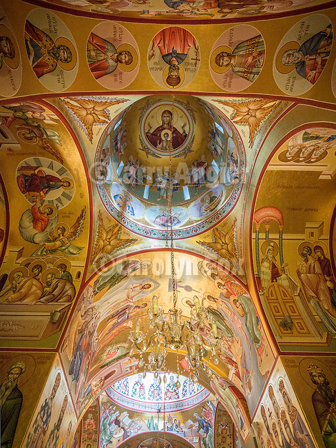 Theotokos in ceiling dome of the Rakovica monastery, Serbia featuring golden icons by Iconographer Rade Sarić