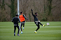Thursday 20 March 2014<br /> Pictured: Wilfried Bony ( right )<br /> Re: Swansea City Training at their Fairwood training facility, Swansea, Wales,UK