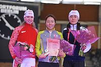 SCHAATSEN: BERLIJN: Sportforum, 06-12-2013, Essent ISU World Cup, podium 500m Ladies Division A, Olga Fatkulina (RUS), Sang-Hwa Lee (KOR), Beixing Wang (CHN), ©foto Martin de Jong