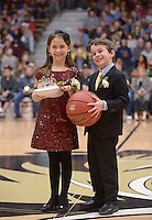 NWA Democrat-Gazette/BEN GOFF @NWABENGOFF<br /> Homecoming mascots present the crown and ball on Friday Jan. 15, 2016 during Bentonville High's colors day ceremony at halftime in the boys basketball game against Springdale Har-Ber in Bentonville's Tiger Arena.