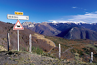 cattle crossing, France, The Pyrenees, Col d'Aspin, Midi-Pyrenees, Hautes-Pyrenees, Europe, A cattle crossing sign on the summit of the scenic Pyrenees Mountains in Col d'Aspin.