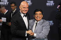 Zurigo 09-01-2017 FIFA Football Awards - Gianni Infantino and Diego Maradona during the Best FIFA Football Awards 2016 in Zurich<br /> Foto Steffen Schmidt/freshfocus/Insidefoto