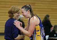 Otago coach Lauren Piebenga, left, and captain Gina Crampton celebrate winning the Lion Foundation Netball Championship final match, day five, MoreFM Arena, Dunedin, New Zealand, Friday, October 04, 2013. Credit: Dianne Manson/©MBPHOTO /Michael Bradley Photography.