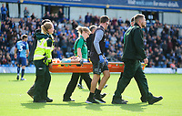 Wycombe Wanderers' Matthew Bloomfield is carried off on a stretcher<br /> <br /> Photographer Andrew Vaughan/CameraSport<br /> <br /> The EFL Sky Bet League One - Wycombe Wanderers v Lincoln City - Saturday 7th September 2019 - Adams Park - Wycombe<br /> <br /> World Copyright © 2019 CameraSport. All rights reserved. 43 Linden Ave. Countesthorpe. Leicester. England. LE8 5PG - Tel: +44 (0) 116 277 4147 - admin@camerasport.com - www.camerasport.com