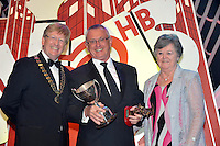 Michael McDowell, St Agnes Musical Society  Belfast who won 'Best Actor in a supporting role' Sullivan Section for his performance as 'Oliver Warbucks in Annie' pictured with Richard Lavery, President, AIMS and Olive Melville, vice-president at the annual  HB Ice Cream / AIMS Musical Society awards in the INEC, KIllarney at the weekend..The gala awards night is the culmination of a year of Musical Theatre throughout the length and breadth of the country which came to a climax at the presentation of awards at a ceremony in INEC, Gleneagles Hotel, Killarney at the weekend. The Awards ceremony was attended by just under 1000  members from Shannon to Tipperary and from Killarney to Belfast..Picture by Don MacMonagle..FREE Photo from AIMS