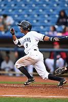 Lake County Captains shortstop Ivan Castillo (9) at bat during a game against the Dayton Dragons on June 8, 2014 at Classic Park in Eastlake, Ohio.  Lake County defeated Dayton 4-2.  (Mike Janes/Four Seam Images)