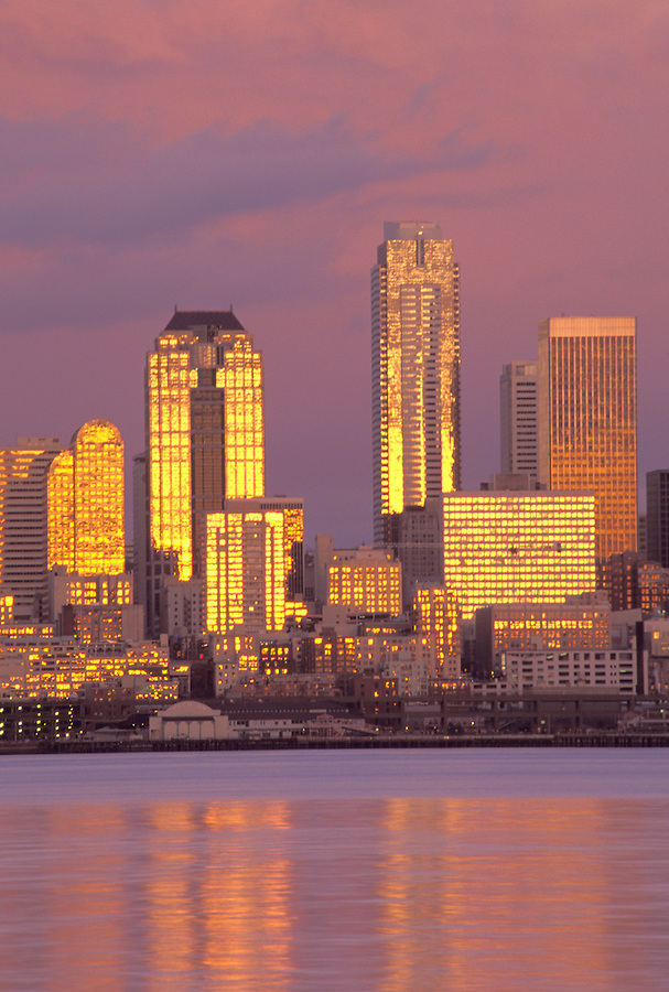 Seattle skyline at sunset, Seattle, Washington