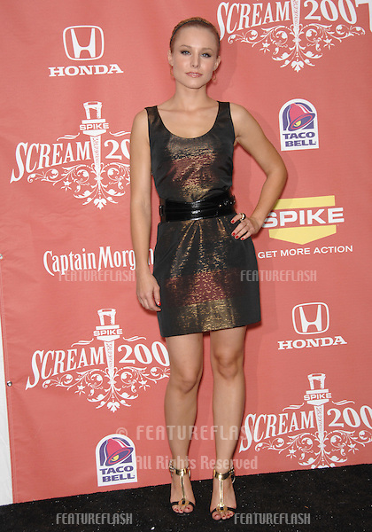 "Kristen Bell at Spike TV's ""Scream 2007"" Awards honoring the best in horror, sci-fi, fantasy & comic genres, at the Greak Theatre, Hollywood..October 20, 2007  Los Angeles, CA.Picture: Paul Smith / Featureflash"