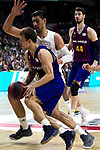 Barcelona's Thomas Heurtel, Real Madrid's Gustavo Ayon and Barcelona's Ante Tomic during Liga Endesa match between Real Madrid and FC Barcelona Lassa at Wizink Center in Madrid, Spain. March 24, 2019.  (ALTERPHOTOS/Alconada)
