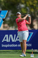 Angela Stanford watches her tee shot off of the 11th tee during Round 3 at the ANA Inspiration, Mission Hills Country Club, Rancho Mirage, Calafornia, USA. {03/31/2018}.<br />