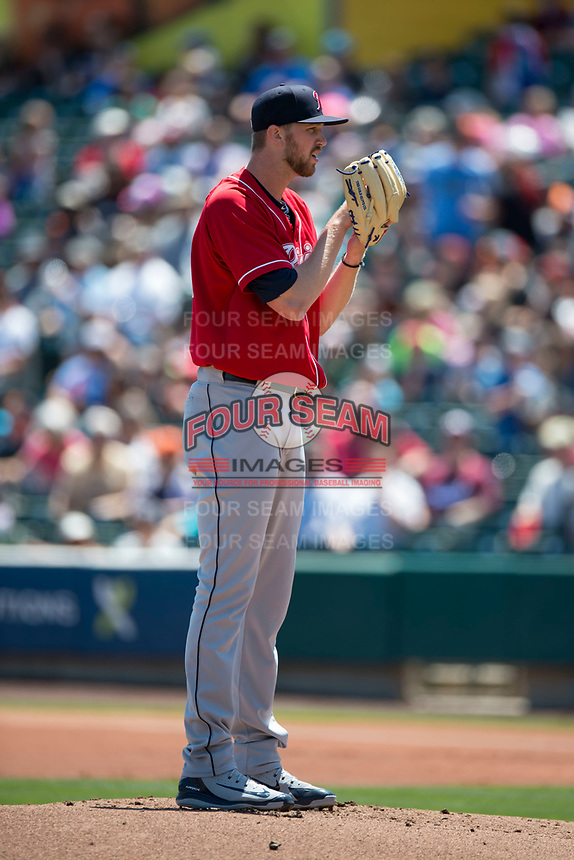 Tacoma Rainiers starting pitcher Max Povse (36) looks to his catcher for the sign during a Pacific Coast League against the Sacramento RiverCats at Raley Field on May 15, 2018 in Sacramento, California. Tacoma defeated Sacramento 8-5. (Zachary Lucy/Four Seam Images)