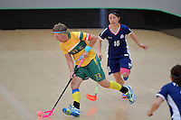 Australia&rsquo;s Belinda Cameron in action during the World Floorball Championships 2017 Qualification for Asia Oceania Region Final - Australia v Japan at ASB Sports Centre , Wellington, New Zealand on Sunday 5 February 2017.<br /> Photo by Masanori Udagawa<br /> www.photowellington.photoshelter.com.