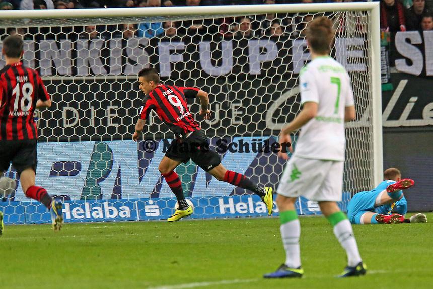 Joselu (Eintracht) jubelt über das 1:0 - Eintracht Franfurt vs. Borussia Mönchengladbach, Commerzbank Arena