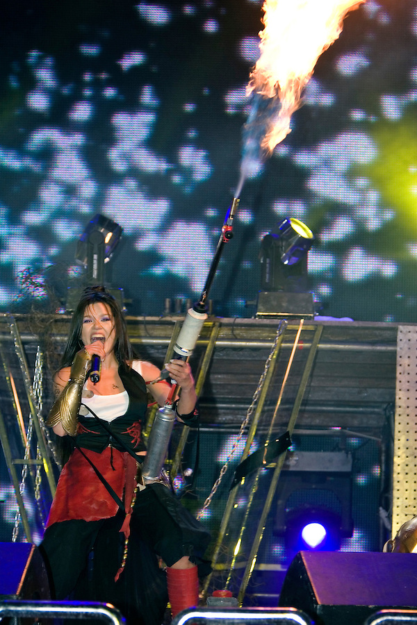 Kiev, Ukraine, 17/05/2005..The fiftieth Eurovision Song Contest..2004 Eurovision winner Ruslana performing at a charity concert in the Eurozone Club a few days before the final..