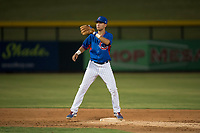 AZL Cubs 2 second baseman Reivaj Garcia (24) covers second base during an Arizona League game against the AZL Rangers at Sloan Park on July 7, 2018 in Mesa, Arizona. AZL Rangers defeated AZL Cubs 2 11-2. (Zachary Lucy/Four Seam Images)