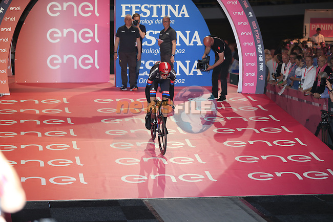 Tom Stamsnijder (NED) Team Giant-Alpecin powers off the start ramp of Stage 1 of the 2016 Giro d'Italia, an individual time trial of 9.8km around Apeldoorn, The Nethrerlands. 6th May 2016.<br /> Picture: Eoin Clarke | Newsfile<br /> <br /> <br /> All photos usage must carry mandatory copyright credit (&copy; Newsfile | Eoin Clarke)