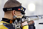 COLUMBUS, OH - MARCH 11:  Jean Pierre Lucas, of West Virginia University, competes during the Division I Rifle Championships held at The French Field House on the Ohio State University campus on March 11, 2017 in Columbus, Ohio. (Photo by Jay LaPrete/NCAA Photos via Getty Images)