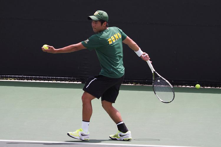 April 27, 2017; Claremont, CA, USA; San Francisco Dons player Woravin Kumthonkittitul during the WCC Tennis Championships at Biszantz Family Tennis Center.