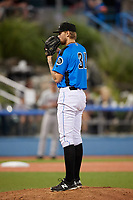 Hudson Valley Renegades starting pitcher Easton McGee (31) looks in for the sign during a game against the Tri-City ValleyCats on August 24, 2018 at Dutchess Stadium in Wappingers Falls, New York.  Hudson Valley defeated Tri-City 4-0.  (Mike Janes/Four Seam Images)