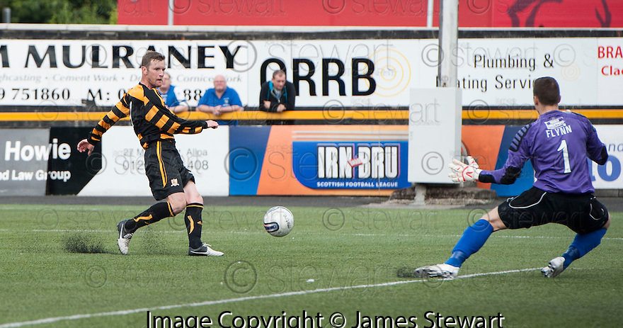 Alloa's Andy Kirk scores their second goal.