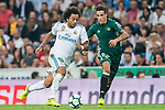 Marcelo Vieira Da Silva (l) of Real Madrid fights for the ball with Cristian Tello Herrera of Real Betis during the La Liga 2017-18 match between Real Madrid and Real Betis at Estadio Santiago Bernabeu on 20 September 2017 in Madrid, Spain. Photo by Diego Gonzalez / Power Sport Images