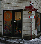 Bitcoin  Compro Euro  First Bitcoin Crypto currency  shop in Italy in Rovereto, Italy, December 11, 2017 The Bitcoin Compro Euro (I Buy Euro) Shop.